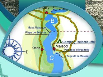 lac de vouglans carte Carte et reglementation du lac de vouglans   jura   franche comte